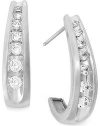 Macy's - Channel-set Diamond J Hoop Earrings In 14k White Gold (1/2 Ct. T.w.) - Lyst