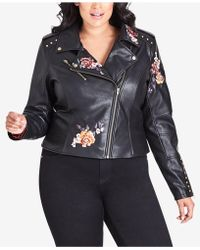 3ec0629e739 City Chic - Trendy Plus Size Embroidered Faux-leather Moto Jacket - Lyst