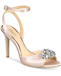 Badgley Mischka - Hayden Embellished Peep-toe Court Shoes - Lyst