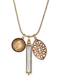 Lucky Brand - Gold-tone Crystal And Cutout Charm Necklace - Lyst