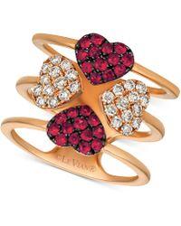 Le Vian - ® Ruby (1/2 Ct. T.w.) & Diamond (1/2 Ct. T.w.) Heart Ring In 14k Rose Gold - Lyst