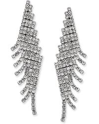 Charter Club - Silver-tone Angled Pavé Fringe Drop Earrings - Lyst
