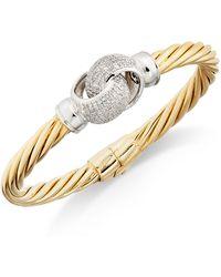 Macy's - Diamond Pavé Interlocked Twist Bangle Bracelet (1 Ct. T.w.) In 14k Gold-plated Sterling Silver - Lyst