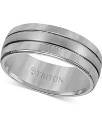 Triton - Men's Ring, 8mm Black Tungsten 3-row Wedding Band - Lyst