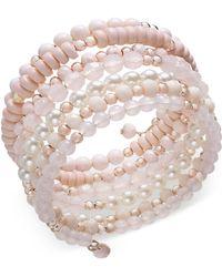INC International Concepts - Rose Gold-tone Beaded Coil Bracelet - Lyst