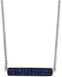 """Effy Collection - Effy® Sapphire Cluster Horizontal Bar 18"""" Pendant Necklace (5/8 Ct. T.w.) In Sterling Silver - Lyst"""
