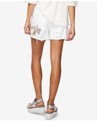RACHEL Rachel Roy - Embroidered Ripped Shorts - Lyst