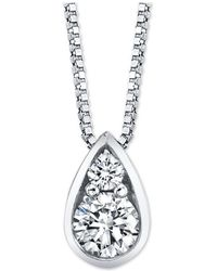 """Macy's - Diamond Pear 18"""" Pendant Necklace (1/4 Ct. T.w.) In 14k White Gold - Lyst"""