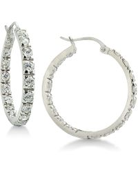 Giani Bernini - Cubic Zirconia In & Out Hoop Earrings In Sterling Silver, Created For Macy's - Lyst