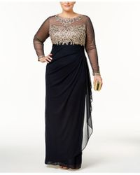 Xscape - Plus Size Embroidered Illusion Gown - Lyst