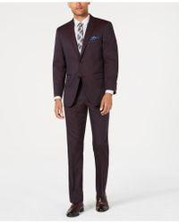 Perry Ellis - Slim-fit Stretch Burgundy Solid Suit - Lyst