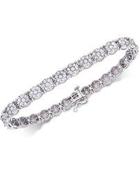 Macy's - Diamond Floral Cluster Tennis Bracelet (4 Ct. T.w.) In 14k White Gold - Lyst