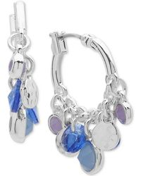Nine West - Blue Bead Shaky Hoop Earrings - Lyst