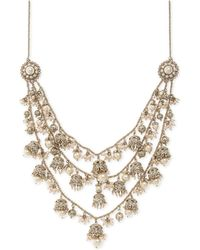 """Marchesa - Gold-tone Bead & Imitation Pearl 7-1/2"""" Statement Necklace - Lyst"""