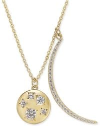 """Danori - 18k Gold-plated Pavé Crescent And Crystal Disc Pendant Necklace, 16"""" + 2"""" Extender, Created For Macy's - Lyst"""
