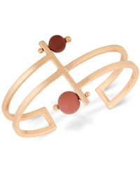 Lucky Brand - Rose Gold-tone Painted Bead Openwork Cuff Bracelet - Lyst