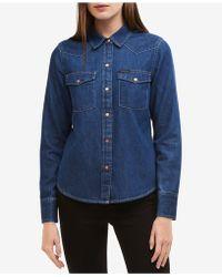 Calvin Klein Jeans - Western Cotton Denim Shirt - Lyst