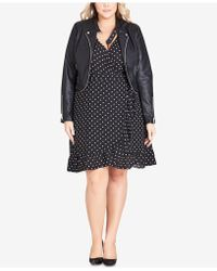 City Chic - Trendy Plus Size Cropped Faux-leather Moto Jacket - Lyst