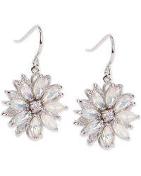 Nina - Silver-tone Crystal & Stone Flower Drop Earrings - Lyst