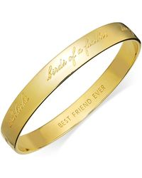 Kate Spade - Bracelet, 12k Gold-plated Bridesmaid Engraved Idiom Bangle Bracelet - Lyst