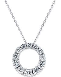 Macy's - Diamond Circle Pendant Necklace (1 Ct. T.w.) In 14k White Gold - Lyst