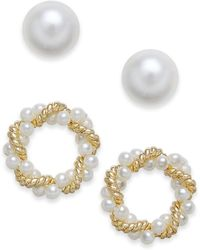 Charter Club - Gold-tone 2-pc. Set Imitation Pearl & Twisted Wreath Stud Earrings, Created For Macy's - Lyst