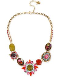 Betsey Johnson - Gold-tone Multi-color Crystal Pendant Frontal Necklace - Lyst