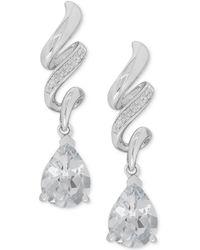 Macy's - White Topaz (2-1/2 Ct. T.w.) & Diamond Accent Drop Earrings In Sterling Silver - Lyst