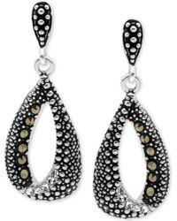 Macy's - Marcasite & Crystal Teardrop Loop Drop Earrings In Fine Silver-plate - Lyst