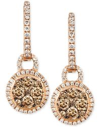Le Vian - Chocolate And White Diamond Circle Drop Earrings (1 Ct. T.w.) In 14k Rose Gold - Lyst
