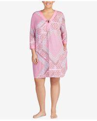 Ellen Tracy - Plus Size Striped-trim Sleepshirt - Lyst