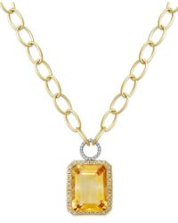 Macy's - 14k Gold Necklace, Citrine (22 Ct. T.w.) And Diamond (5/8 Ct. T.w.) Rectangle Pendant - Lyst