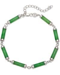 Macy's - Dyed Jadeite (4 X 15mm) Link Bracelet In Sterling Silver - Lyst