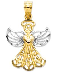 Macy's - 14k Gold And Sterling Silver Charm, Filigree Angel Charm - Lyst