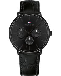 Tommy Hilfiger - Black Leather Strap Watch 40mm, Created For Macy's - Lyst