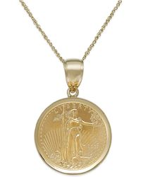 Macy's - Genuine Eagle Coin Pendant Necklace In 22k And 14k Gold - Lyst