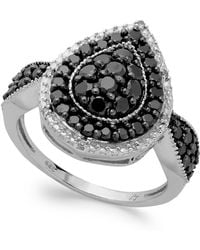 Macy's - Sterling Silver Black (1 Ct. T.w.) And White Diamond Accent Pear-shaped Ring - Lyst