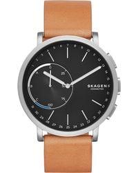 Skagen - Unisex Hagen Hybrid Tan Leather Strap Smart Watch 42mm Skt1104 - Lyst
