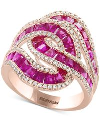Effy Collection - Ruby (3-1/2 Ct. T.w.) & Diamond (1/2 Ct. T.w.) Ring In 14k Rose Gold - Lyst