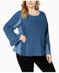 INC International Concepts - Plus Size Chambray Knit-trim Top, Created For Macy's - Lyst