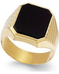 Macy's - Men's Onyx Ring In 14k Gold (3-3/4 Ct. T.w.) - Lyst