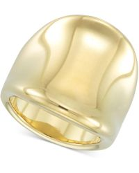 Signature Gold - Tm Diamond Accent Curved Concave Ring In 14k Gold Over Resin - Lyst