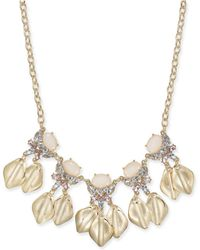 "INC International Concepts - Gold-tone Stone & Crystal Petal Statement Necklace, 17"" + 3"" Extender, Created For Macy's - Lyst"