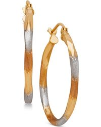 Macy's - Tri-tone Twist Hoop Earrings In 14k Gold With White And Rose Rhodium-plating - Lyst