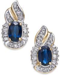 Macy's - Sapphire (1-1/5 Ct. T.w.) & Diamond (1/4 Ct. T.w.) Drop Earrings In 14k Gold - Lyst