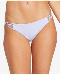 ebe9784121 Lyst - Volcom  simply Solid  Side Tie Bikini Bottoms in Orange