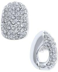 Anne Klein - Silver-tone Black Crystal Huggie E-z Comfort Clip-on Earrings - Lyst