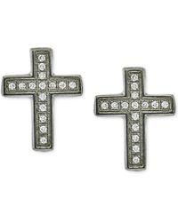 Macy's - Men's Diamond Cross Stud Earrings (1/10 Ct. T.w.) In Stainless Steel - Lyst