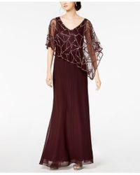 J Kara - Sequin-embellished Cape Gown - Lyst