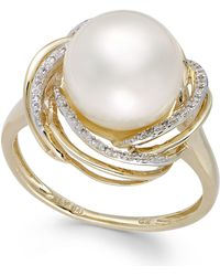 Macy's - Cultured Freshwater Pearl (10mm) And Diamond (1/10 Ct. T.w.) Swirl Ring In 14k Gold - Lyst